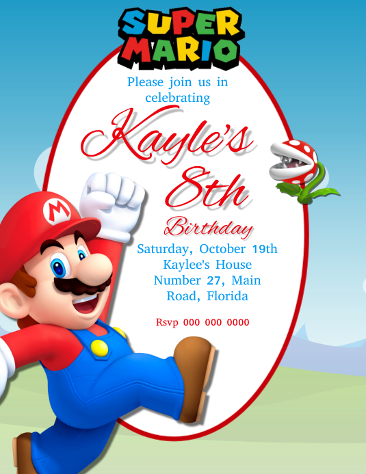 Mario Birthday Party Invitation Template | PosterMyWall