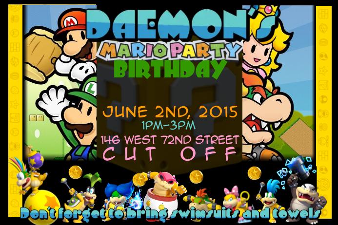 Plantilla De Invitación A La Fiesta De Cumpleaños De Mario