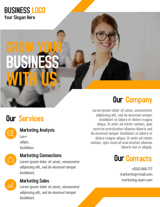 Marketing agent business flyer template design
