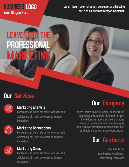 Marketing business consultant flyer template design