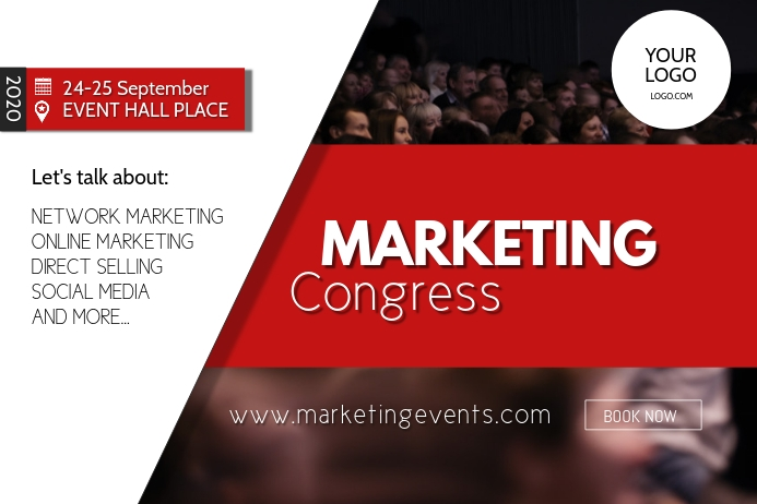 Marketing congress Network event summit ad Banner 4 × 6 Fuß template