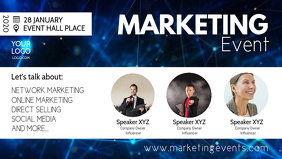 Marketing Seminar Event Workshop Congress Ad Video copertina Facebook (16:9) template