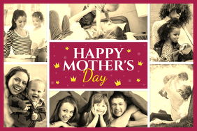 Maroon and Yellow Mother's Day Collage Poster template