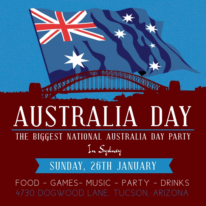 Maroon Australia Day Invite Template