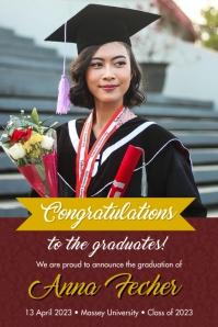 Maroon congrats grad banner template