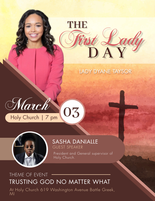 Maroon First Lady's Day Church Flyer Template