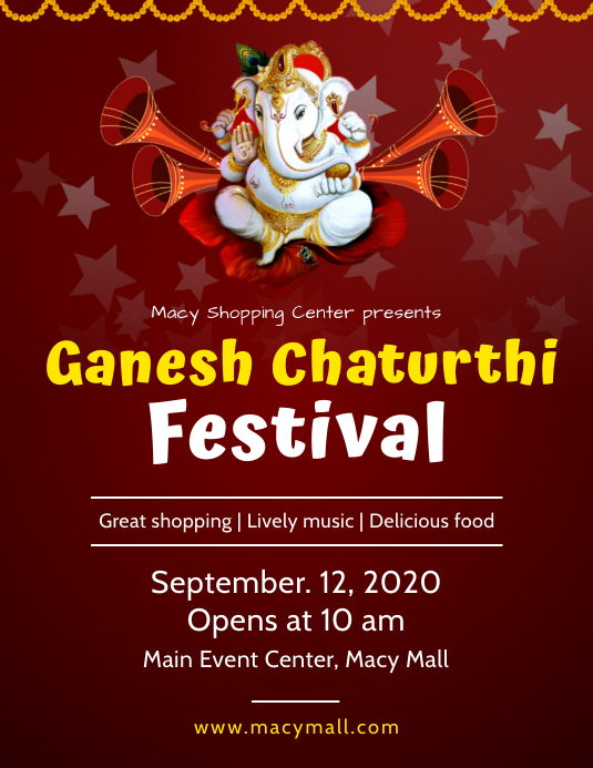 Maroon Ganesh chaturthi Festival flyer 传单(美国信函) template