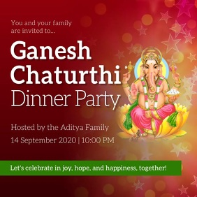 Maroon Ganesh Chaturthi Invitation Instagram Quadrato (1:1) template