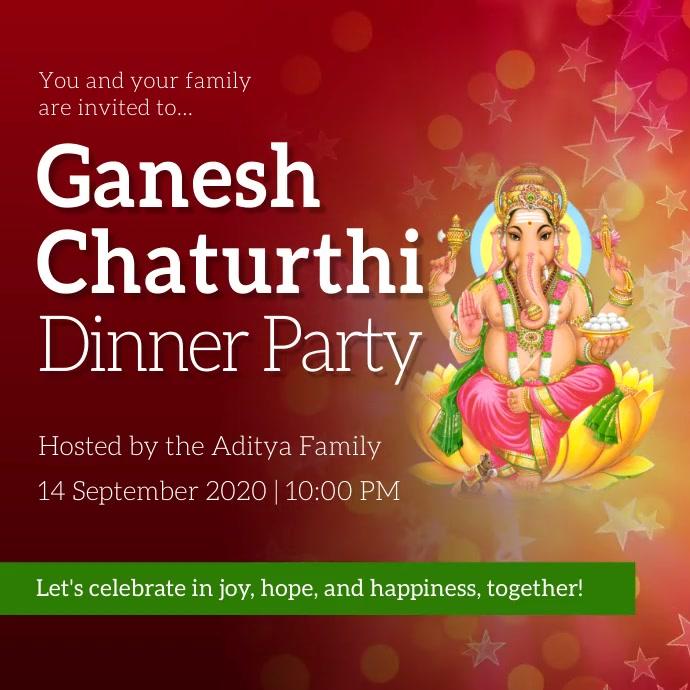 Maroon Ganesh Chaturthi Invitation Instagram Square (1:1) template
