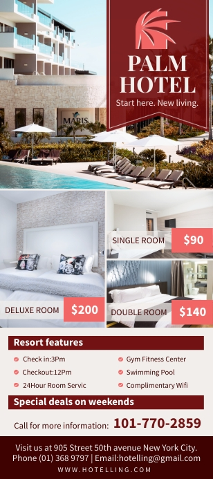 Maroon hotel accommodation rack card design template