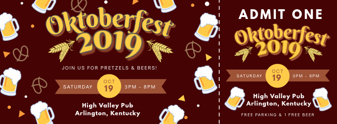 Maroon Oktoberfest Ticket Template Facebook Cover Photo