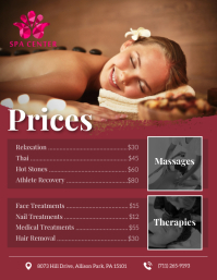 Maroon Price List Flyer Template