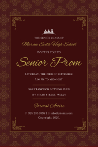 Maroon Senior Prom Invitation Flyer