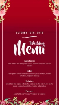 Maroon Wedding Menu Digital Display Video