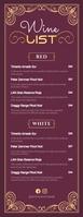 Maroon Wine List Half Page Letter template