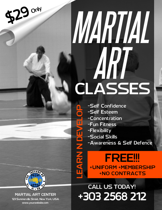 Martial Art Classes Flyer ใบปลิว (US Letter) template