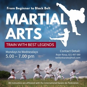 Martial Arts Classes Square Video template