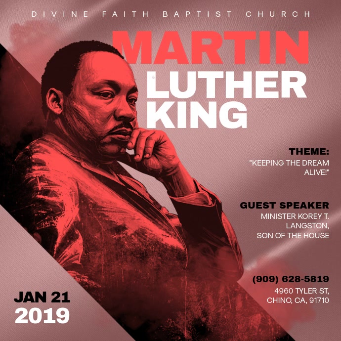 Martin Luther King Church Event Video Invite Cuadrado (1:1) template