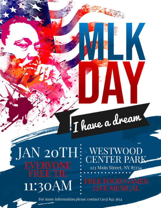 Martin Luther King Jr Day Flyer Pamflet (Letter AS) template