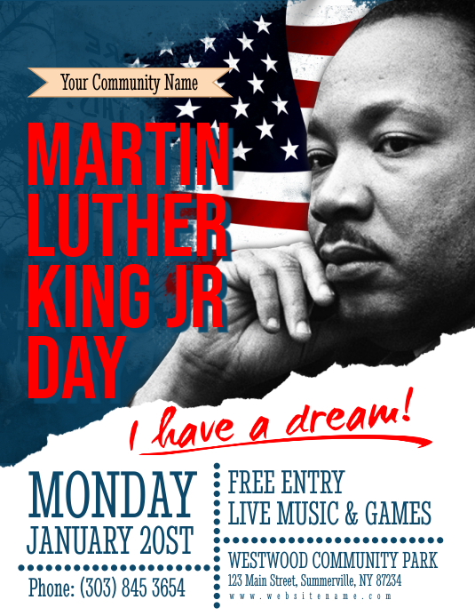 Martin Luther King Jr Day Flyer Folder (US Letter) template