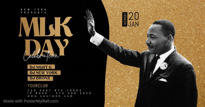 Martin Luther King Jr Day Flyer Template Facebook Gedeelde Prent