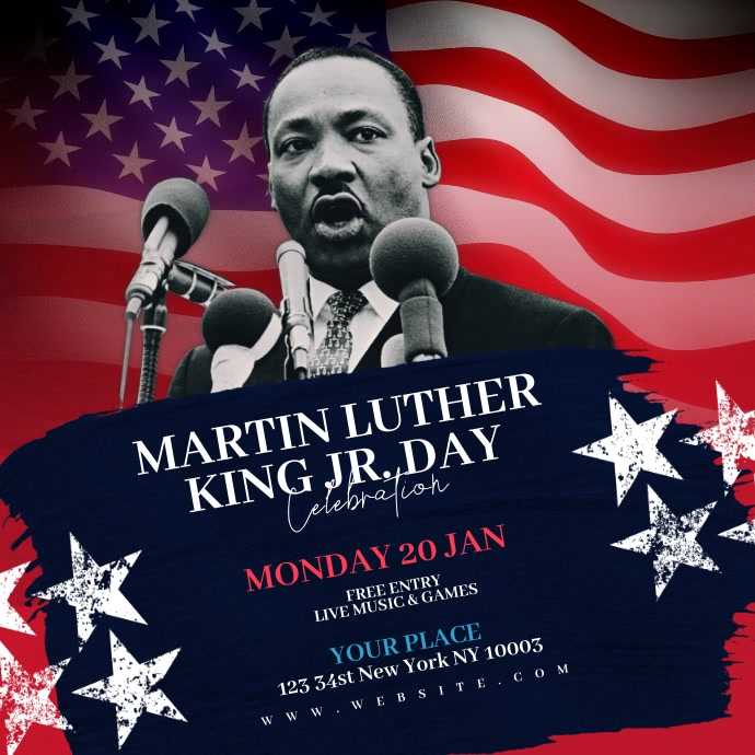 Martin Luther King Jr Day Flyer Template Publicación de Instagram