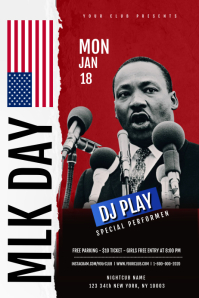 Martin Luther King Jr Day Flyer Template 横幅 4' × 6'