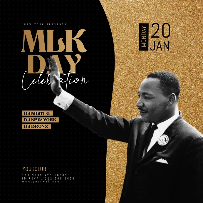 Martin Luther King Jr Day Flyer Template Instagram Plasing