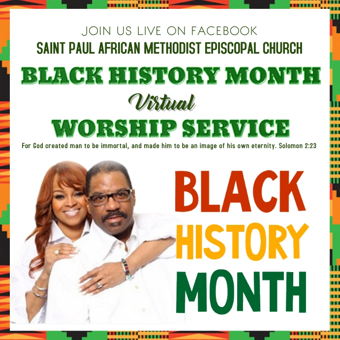 Church Black History Month Worship Wpis na Instagrama template