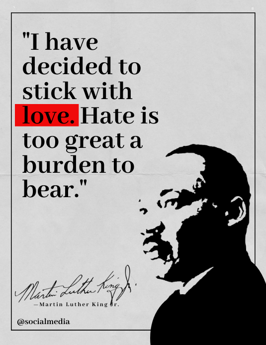 "Martin Luther King Jr Quotes ""Love"" Iflaya (Incwadi ye-US) template"