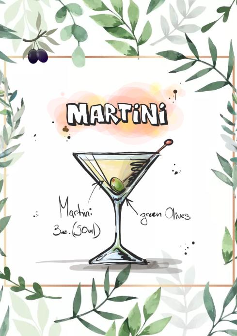 Martini green design A2 template