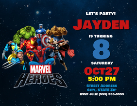 Marvel Heroes Birthday Invitation Pamflet (Letter AS) template