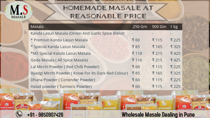 Masale price table