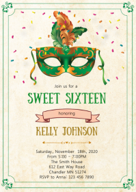 Mask mardi gras birthday invitation A6 template