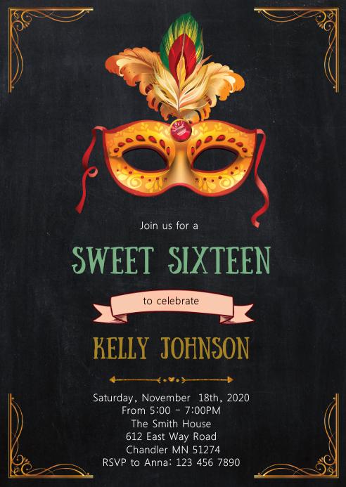 Mask mardi gras birthday invitation