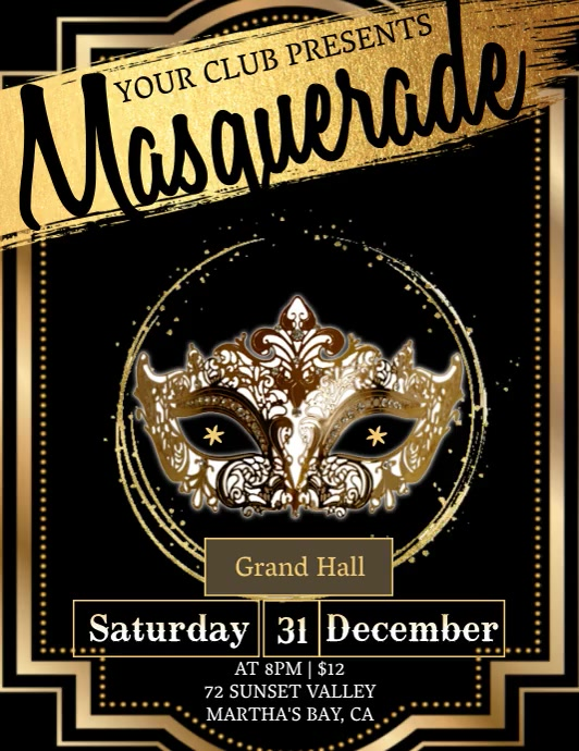mask party invitation Template