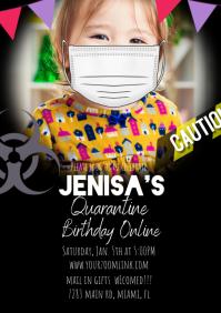 Mask Photo Caution Quarantine Online Invite A4 template