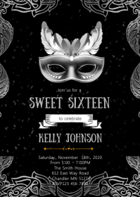 Mask sweet sixteen birthday invitation