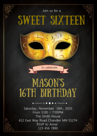 Mask theme party invitation