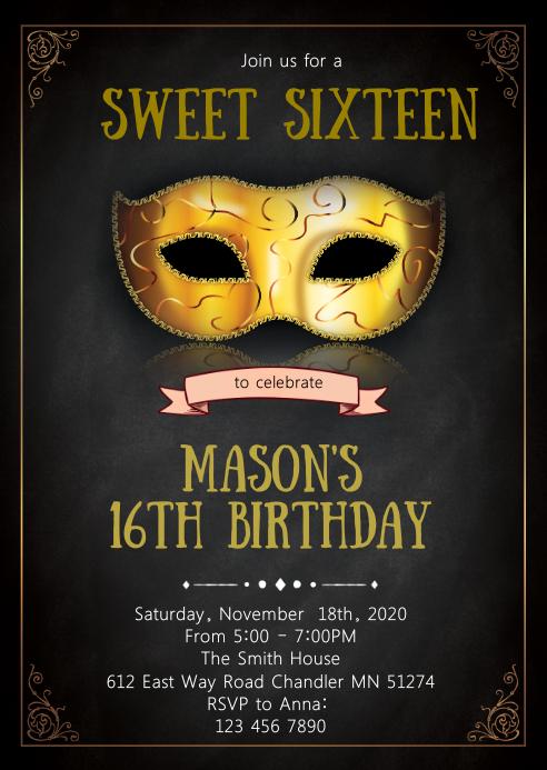 Mask theme party invitation