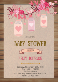 Mason jar baby shower invitation