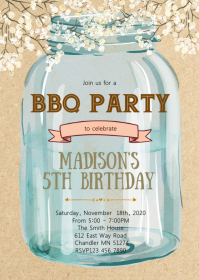 Mason jar birthday party theme invitation