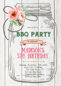 Mason jar party theme invitation