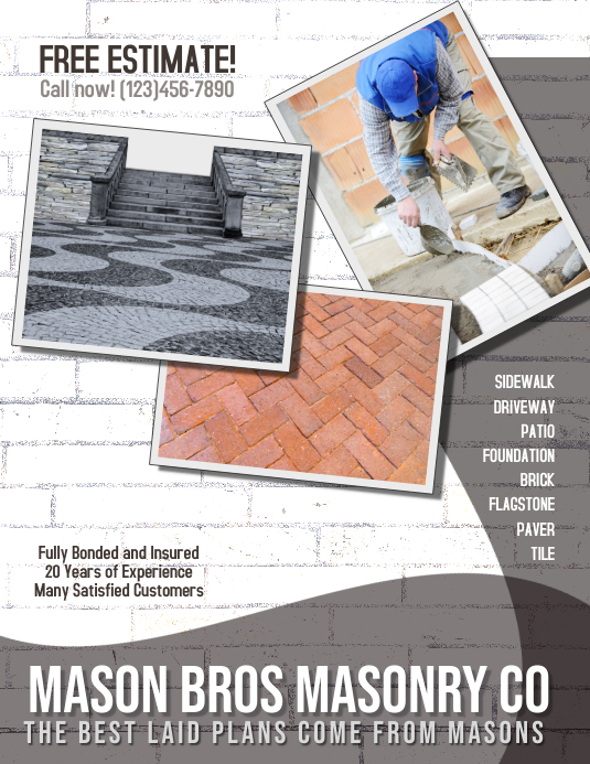 masonry brick concrete flyer template