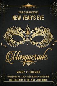 Masquerade Flyer Spanduk 4' × 6' template
