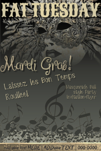 Masquerade Mardi Gras Fat Tuesday Venetian Vintage Antique Party Feathers Music Poster Invite Flyer