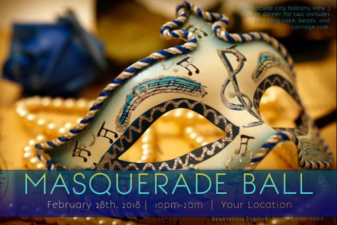 Masquerade Mask Music Ball Mardi Gras Blues Romantic