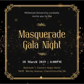 Masquerade Party Dinner Invitation Template Square (1:1)