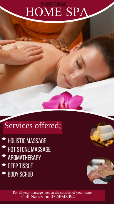Massage & Spa สถานะ WhatsApp template