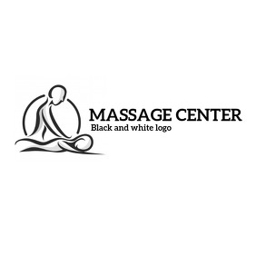 Massage center black and white logo